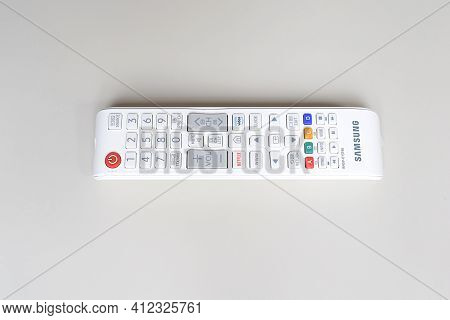 Samsung Tv Remote Control On A White Background.