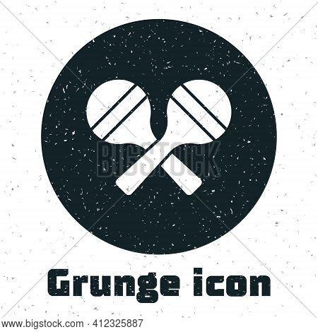 Grunge Maracas Icon Isolated On White Background. Music Maracas Instrument Mexico. Monochrome Vintag