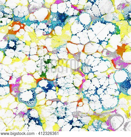 Seamless Marble Abstract Pattern, Fluid Texture, Watercolor Marble Pattern. Ebru Style, Colorful, Ha