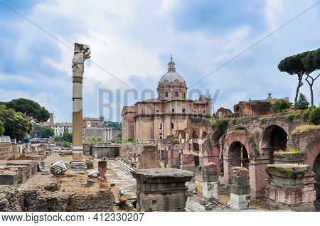 Roman Forum In Center Of Rome, Italy