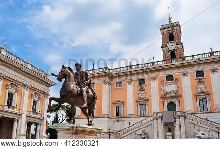 Statue Of Marcus Aurelius And Conservators Palace (palazzo Dei Conservatori) On Capitoline Hill In R