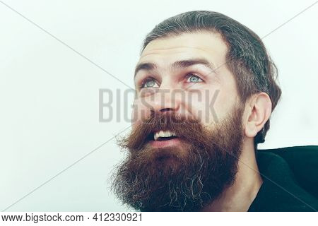 Long Beard, Brutal Caucasian Hipster With Moustache On Smiling Happy Face Close Up. Bearded Man With