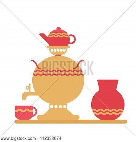 Russian Traditional Samovar With Cup, Teapot, Ceramc Jar Vector Illustration.