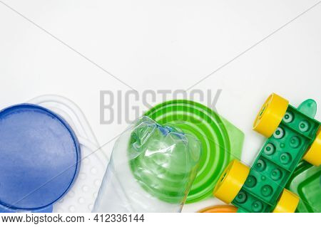 Many Pet Plastic Objects, Things Bottles Toys Caps That Can Be Recycled In Order To Save Nature And