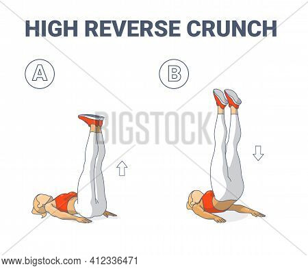 High Reverse Crunch Woman Home Workout Exercise Illustration. Athletic Female Working On Her Abs.