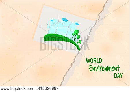 Picture With Wind Turbines Pasted To Torn Paper Background. World Environment Day And Sustainable De