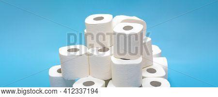 toilet paper supplies for the coronavirus pandemic covid- 19,  don't panic