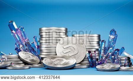 Digital Art Of Dash Logo Symbol. Cryptocurrency Coin Dash And Crystals 3d Illustration. Crypto Backg