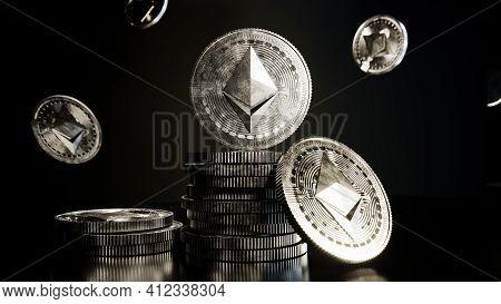Ethereum Coin. Crypto Currency Digital Money. Ethereum Blockchain Symbol. 3d Illustration