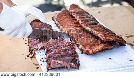 Prepared Smoked Ribs For A Bbq Cookout