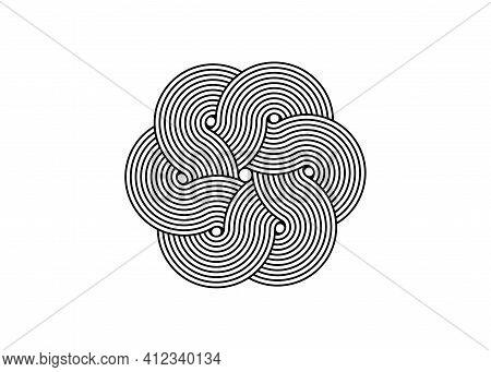 Interlaced Curvy Flower, Sacred Celtic Knot, Logo Design Element In Black Stripes, Vector Isolated O