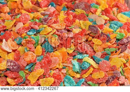 Close Up Of Fruity, Sweet, Colorful Breakfast Cereal.