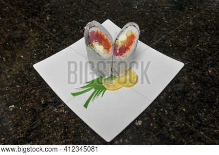 Traditional And Authentic Japanese Cusine Know As A Sushi Burrito