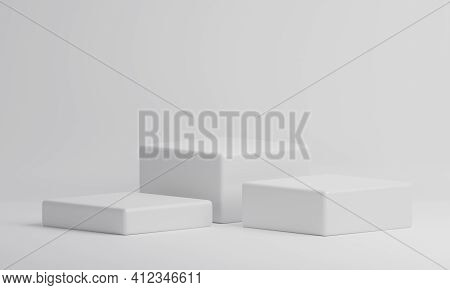 White Rectangle Cube Product Showcase Table On Isolate Background. Abstract Minimal Geometry Concept