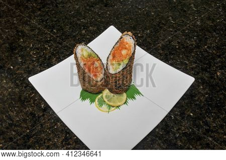 Traditional And Authentic Japanese Cusine Know As A California Sumo Burrito