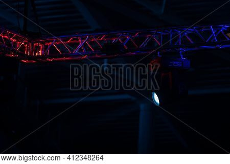 Stage Lighting. Projectors In The Circus.multicolored Light Rays From Stage Spotlights On Stage