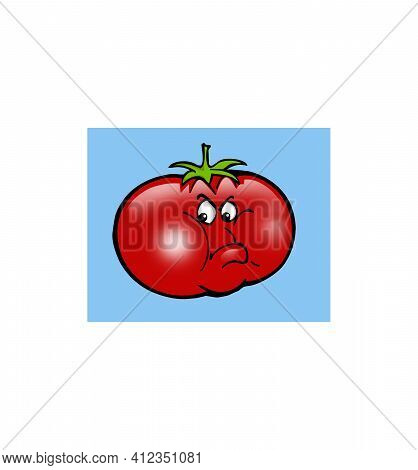 Cartoon Characters Small Funny Menacing Tomato Puffed Out Its Cheeks