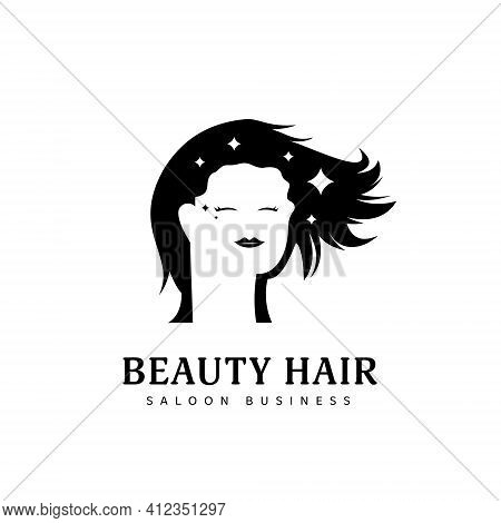 Beauty Natural Hair Dresser Saloon Logo Icon Symbol With Calm Long Hair Woman Silhouette