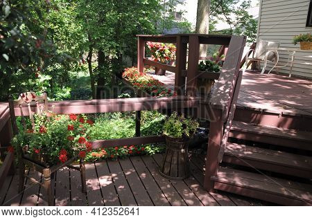 Beautiful Backyard Porch Deck Of House In A Forest Woods With Plants And Flowers Along The Edge Of T