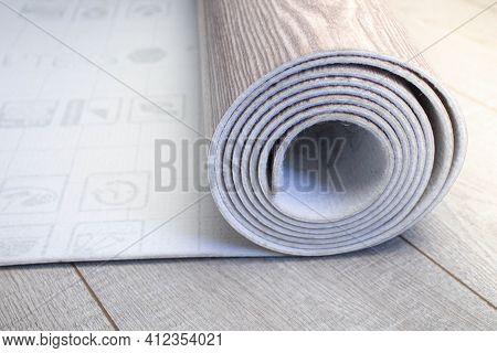 Floor Covering - Linoleum. The Floor Covering Is Rolled.