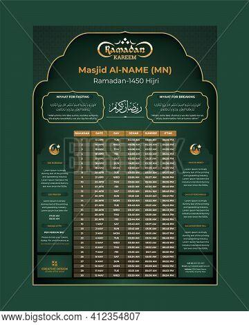 Ramadan Kareem Timing Calendar, Ramadan Kareem Fasting And Prayer Time Guide
