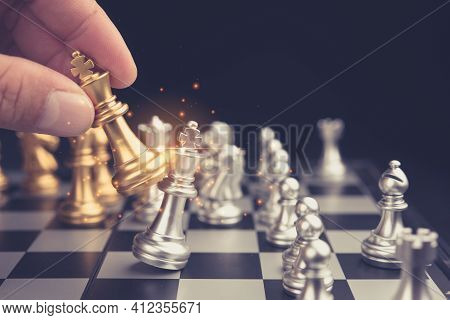 Hand Of Businessman Moving Chess Figure In Competition Success Play. Strategy, Management Or Leaders
