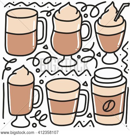 Doodle Set Of Coffe Cups Hand Drawing With Icons And Design Elements