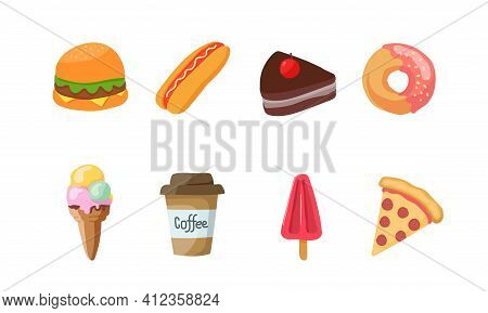Flat Vector Illustration Of Fast Food Menu Icon. Perfect For Element Design Of Fast Food Restaurant