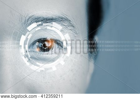 Close Up Of Woman Eye In Process Of Scanning.high Technology That Helps Identify Identification By S
