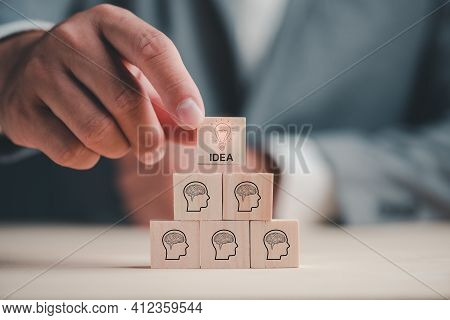 Brainstorming Ideas Concept.creative Idea.concept Of Idea And Innovation. Hand Choose One Idea Of Si