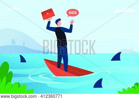 Businessman Going Through Financial Crisis And Bankruptcy Metaphor. Man On Sinking Boat In Sea With