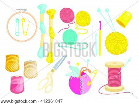 Colored Various Threads For Sewing Flat Set For Web Design. Cartoon Weaving Wool, Yarn, Clew And Nee