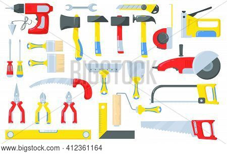 Construction Tools Set. Instruments For Masonry Works With Concrete And Brick, Bricklayer Job, Hamme