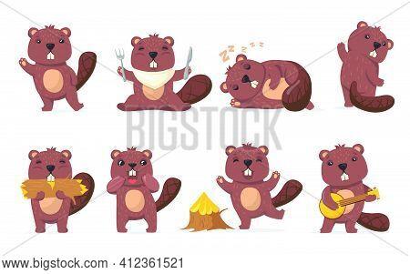 Funny Beaver Set. Cute Cartoon Woodchuck Waving Hello, Eating Wood, Sleeping, Dancing In Different P