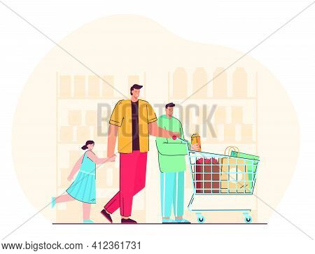Happy Father With Children Buying Products In Supermarket Flat Vector Illustration. Cartoon Dad And