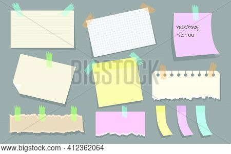 Modern Paper Notes On Stickers Flat Illustration Set. Cartoon Torn Paper Sheets Form Notepad Isolate