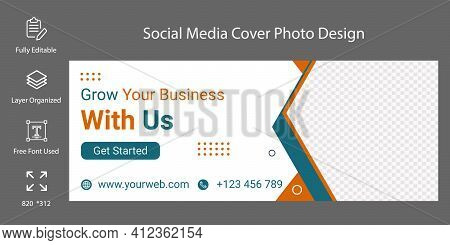 Social Media Cove Template Fully Editable Or Advertising Design. Online Marketing Agency Social Medi