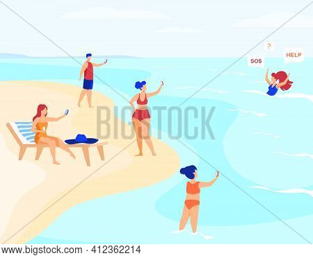 People On Beach Shooting Drowned Woman. Sea, Smartphone, Internet Flat Vector Illustration. Cruelty