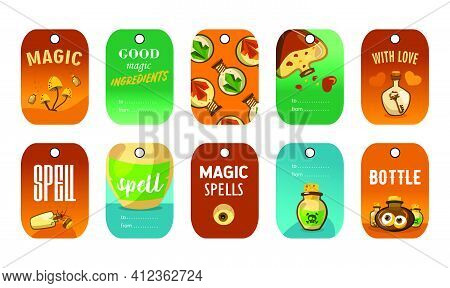 Stylish Special Tag Designs For Magic Shop. Cartoon Cute Sea Turtle Character On Colorful Background