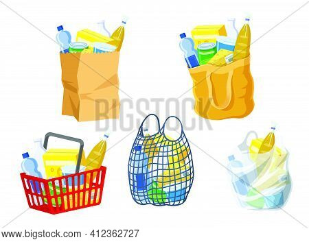 Supermarket Bags Collection. Paper Packages, Shopping Basket, Canvas And String Bag Isolated On Whit