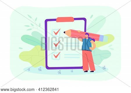 Tiny Businesswoman Checking Completed Tasks On Clipboard Flat Vector Illustration. Cartoon Woman Wri