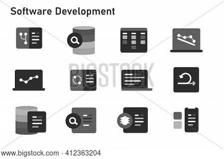 Agile Methodology Software Development Icon Set Collection Of Code Programming Using Sprint Kanban B