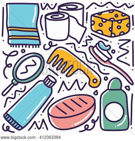 Hand Drawn Baby Toiletries Doodle Set With Icons And Design Elements