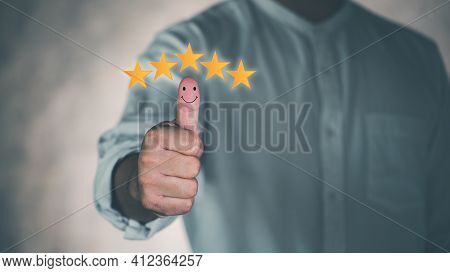 Customer Service Satisfaction Survey Concept.business People Or Customers Are Thumbs Up To Show Thei
