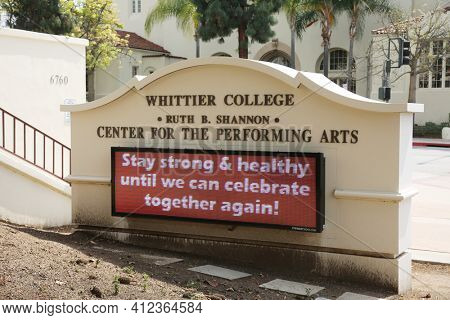 March 12, 2021 - Whittier, California: Whittier College. Center for the Performing Arts Building. Closed due to Coronavirus Pandemic. Editorial Use Only.