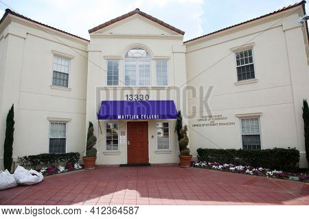 March 12, 2021 - Whittier, California: Whittier College. Office of Admission. Office of Financing. Closed due to Coronavirus Pandemic. Editorial Use Only.
