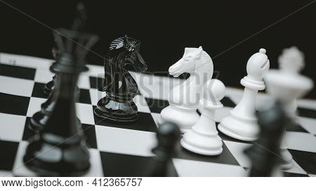 Chess Game Competition Business Concept , Business Competition Concept Fighting And Confronting Prob