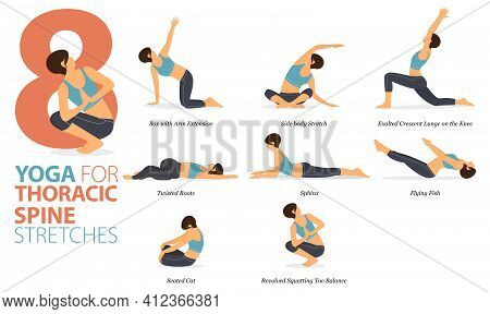 Infographic 8 Yoga Poses For Workout In Concept Of Thoracic Spine Stretch In Flat Design. Women Exer