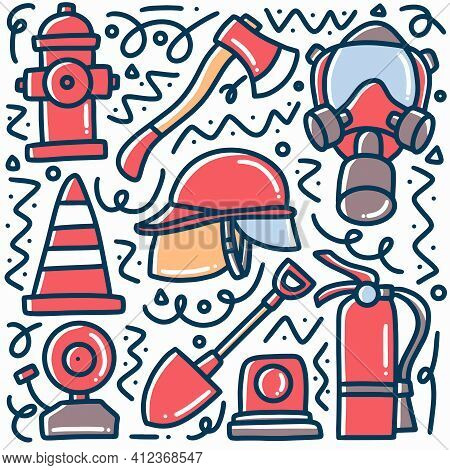 Hand Drawn Firefighters Equipment Doodle Set With Icons And Design Elements