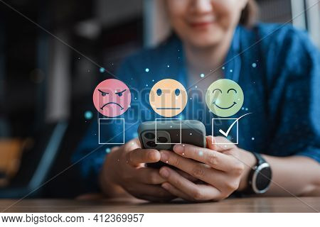 Smart Woman Use Smartphone Choosing Green Happy Smile Face Icon. Feedback Rating And Positive Custom